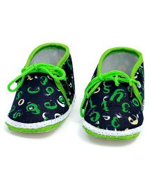 Soft Tots Alphabet Printed Booties - Green & Black