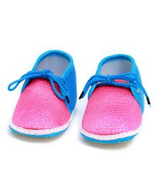 Soft Tots Shining Textured Booties - Pink & Blue