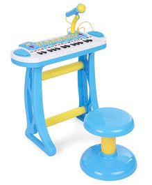 Comdaq Colorful Piano With Mike & Stool - Blue Yellow