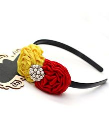 D'chica Dual Tone Hairband - Red Yellow & Black