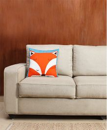 HouseThis The Furry Fox Pure Cotton Cushion Cover - Orange White & Blue