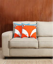 HouseThis The Furry Fox Pure Cotton Set Of 2 Cushion Covers - Orange & Blue