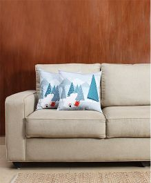HouseThis The Snowy Winter Pure Cotton Set Of 2 Cushion Covers - White & Blue