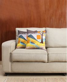 HouseThis The Drizzly Monsoon Pure Cotton Set Of 2 Cushion Covers - Multicolor