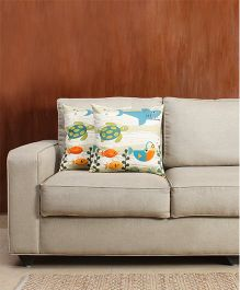 HouseThis The Chasing Tortoise Pure Cotton Set Of 2 Cushion Covers - Orange Blue & Green