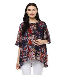 Wobbly Walk Maternity Top Floral Print - Blue