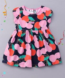 Child World Short Sleeves Frock Allover Fruit Print - Pink