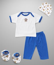 Babyhug Bear Printed Clothing Set 4 Piece - Blue