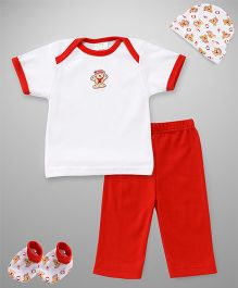 Babyhug 4 Piece Infant Clothing Set - White Red
