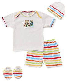 Babyhug 4 Piece Infant Clothing Set Bear Embroidery - Off White Multicolour
