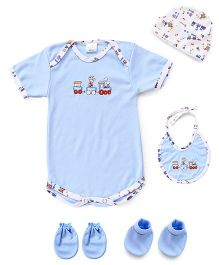 Babyhug 5 Piece Infant Clothing Set - Blue White