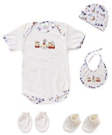Babyhug 5 Piece Infant Clothing Set - Off White