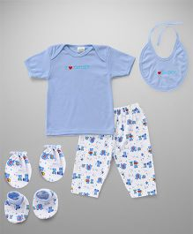 Babyhug Clothing Gift Set Of 5 Pieces - Blue White