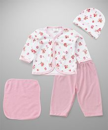 Babyhug Clothing Gift Set Of 4 Pieces Bear Print - Pink White