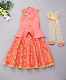 Violet Lehenga Kurti Set With Dupatta Embroidered - Pink