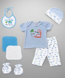 Cloth Gift Set Dino Embroidery 7 Pieces - White Blue
