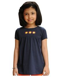Snowflakes Half Sleeves Top Sun Embroidery - Navy Blue