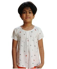 Snowflakes Half Sleeves Printed Top - Off White