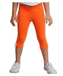 Snowflakes Three Fourth Leggings With Bow - Orange