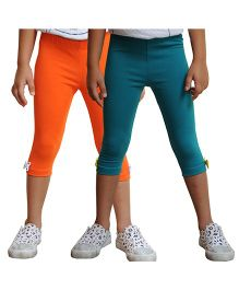 Snowflakes Three Fourth Leggings With Bow Pack Of 2 - Green Orange