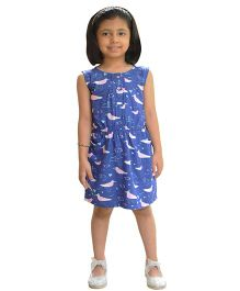 Snowflakes Sleeveless Frock Bird Print - Blue