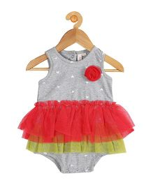 My Lil Berry Sleeveless Hearts Embroidered Ruffle Onesie - Grey Red Green