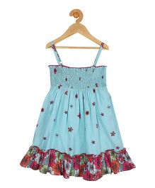 My Lil Berry Singlet Floral Print Sun Dress - Turquoise Blue
