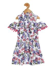 My Lil Berry Cold Shoulder Shirt Dress Floral Print - White Blue Pink