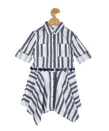 My Lil Berry Full Sleeves Stripes Shirt Dress  - White & Blue