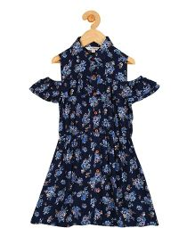 My Lil Berry Cold Shoulder Shirt Dress Floral Print - Navy