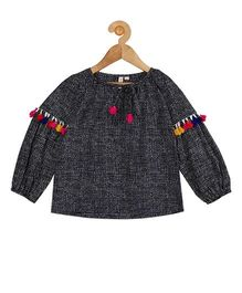 My Lil Berry Full Sleeves Boho Top With Pom Pom Details - Dark Navy