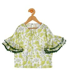 My Lil Berry Bell Sleeves Floral Print Flowy Top - Off White & Green