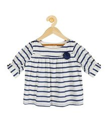 My Lil Berry Full Length Stripes Top - White Navy