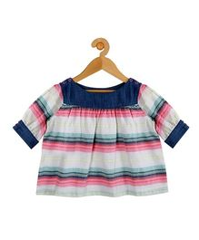 My Lil Berry Full Length Stripes Top - White Pink Navy