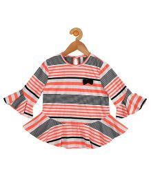 My Lil Berry Bell Sleeves Jersey Flair Stripes Top - Orange Grey