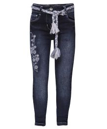 Tales & Stories Full Length Embroidered Jeans - Dark Navy