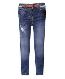 Tales & Stories Full Length Denim Jeans With Belt - Dark Blue