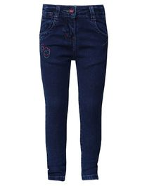 Tales & Stories Full Length Jeans With Hearts Design - Dark Blue