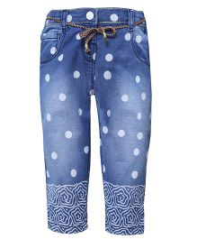 Tales & Stories Full length Polka Print Jeans - Blue