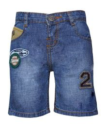 Tales & Stories Denim Shorts With No.2 Patch - Blue