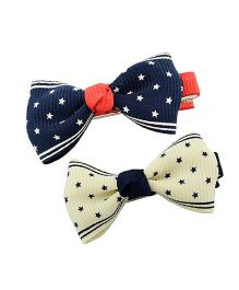 Angel Closet Girls Star Print Bow Knot Clips Pack Of 2 - Blue & Beige