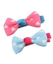 Angel Closet Heart Print Bow Knot Clips Pack Of 2 - Pink & Blue