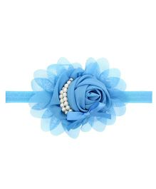 Angel Closet Flower Headband With Pearls - Blue