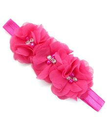 Angel Closet Flower With Pearls Headband - Dark Pink