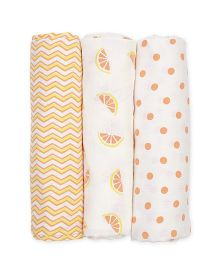 Mi Dulce An'ya Organic Cotton Swaddle Wrapper Yellow Orange - Set of 3