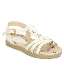 My Lil Berry Flower Strap Sandals - White