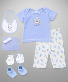 Infant Clothing Set Bear Embroidery Pack of 7 - Blue White