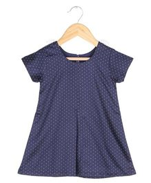 Tia'S Closet A-Line Polka Dot Dress - Blue
