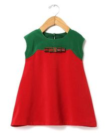 Tia's Closet A-Line Dual Tone Dress With A Bow - Red