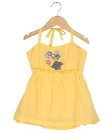 Tia'S Closet Elephant Embroidered Sundress - Yellow